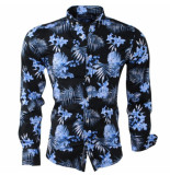 Carisma Heren overhemd bloemen slim fit stretch zwart