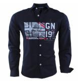 Geographical Norway Heren overhemd slim fit zalopark navy zwart