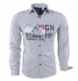 Geographical Norway Heren overhemd slim fit zalopark licht grijs