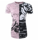 Just Relax Lang heren tshirt ronde hals allover print slim fit zwart roze
