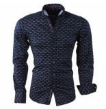 Carisma Heren overhemd met trendy design slim fit stretch blauw