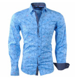 Carisma Heren overhemd bloemen slim fit stretch blauw
