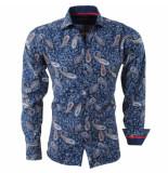 Bravo Jeans Heren overhemd paisley slim fit blauw