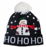 MZ72 Kerstmuts hohoho snowman donker blauw