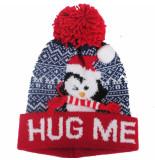 MZ72 Kerstmuts hug me pinguin navy rood blauw