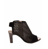 s.Oliver Pump high mesh suede black zwart
