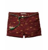 Scotch R'Belle Broek boyfriend fit shorts & belt dark red