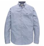 PME Legend Long sleeve shirt stripe melange office blue blauw