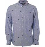 Noize Shirt chambray printed blue blauw