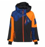Spyder / blauw / oranje ski jas boy's leader met 10.000mm waterkolom zwart