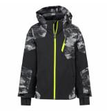 Spyder Grijze camo print ski jas boy's chambers met 10.000mm waterkolom zwart
