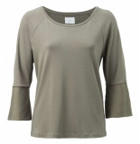 YAYA Top with contrasting cuffs grijs