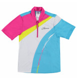 Gonso Lime/blauw/wit kinder fietsshirt luna roze