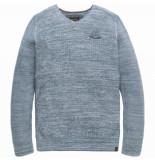PME Legend Pkw188300 5237 v-neck cotton mouline aegean blue blauw