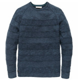 Cast Iron Ckw188402 5057 r-neck cotton mouline slub insignia blue blauw