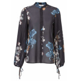 YAYA Blouse with plisse sleeves blauw