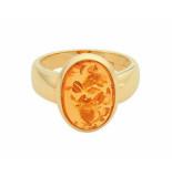 Christian Design gouden ring met barnsteen geel goud