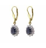 Christian Bicolor saffieren en diamanten oorbellen geel goud