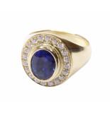 Atelier Christian Gouden ring met saffier en diamanten geel goud