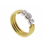 Atelier Christian Gouden ring met diamant en briljant geel goud
