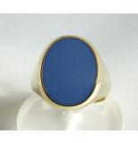 Christian Gouden ring met blauwe lagensteen