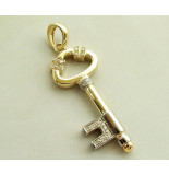 Christian Gouden diamanten hanger sleutel geel goud