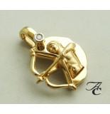 Atelier Christian Boogschutter hanger met clipsluiting geel goud