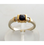 Christian Bicolor gouden ring met diamant en saffier geel goud