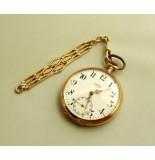 Christian Gouden union zakhorloge met horlogeketting geel goud