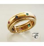 Atelier Christian Gouden ring met saffier robijn en smaragd geel goud
