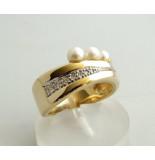 Christian Gouden ring met diamant en parel geel goud