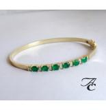 Atelier Christian Gouden armband met smaragd en diamanten geel goud