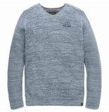 PME Legend V-neck cotton mouline aegean pkw188300 blauw