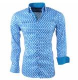Montazinni Heren overhemd met trendy design stretch sax blue blauw