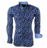 Montazinni Heren overhemd stretch vogels blauw