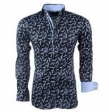 Montazinni Heren overhemd stretch vogels zwart
