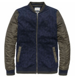 Cast Iron Bomber jacket printed interlock dark sapphire blauw