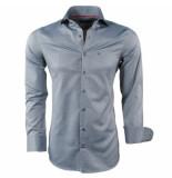 Montazinni Heren overhemd oxford grijs