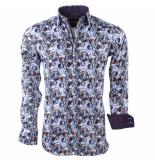 Montazinni Heren overhemd met trendy design wit