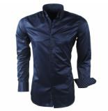 Montazinni Heren overhemd design kraag gestreept kreuk en strijkvrij blauw