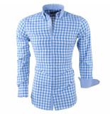 Montazinni Heren overhemd geblokt blauw zwart
