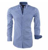 Montazinni Heren overhemd geblokt blauw