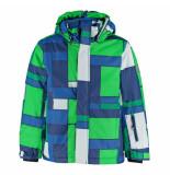 Color Kids Blauw met geruite jongens ski jas darwin 10.000mm waterkolom groen