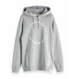 Scotch & Soda Club nomade signature sweat hoody w grey melange grijs
