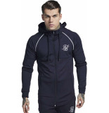 Siksilk Ziptrough track top navy&white-1 xs blauw