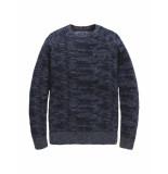 PME Legend R-neck cotton jaquard blauw