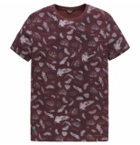 PME Legend Short sleeve r-neck single jersey aop chocolate tr rood