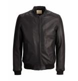 Selected Homme Jas rag leather bomber jacket black zwart