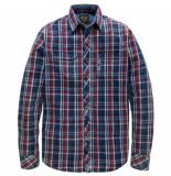 PME Legend Long sleeve shirt indigo check gable tibetan red rood