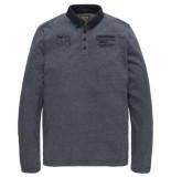 PME Legend Long sleeve polo yarn dyed fine stripe salute blauw